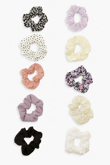 10 Pack Multi Print And Colour Scrunchies