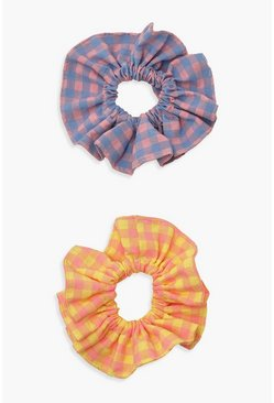Multi Bold Chunky Gingham Cotton Scrunchie 2 Pack