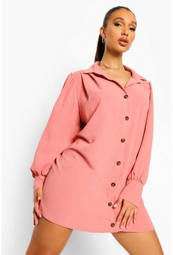 Spice orange Balloon Sleeve Button Front Smock Shirt Dress