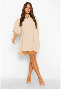Sand beige Tiered Balloon Sleeve Smock Shirt Dress
