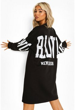 Black Tall Back Print Oversize Sweat Dress