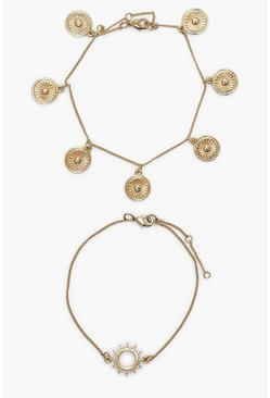 Gold metallic Sun Pendant 2 Pack Bracelet Set