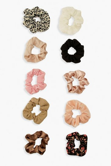 Multi 10 Pack Mix Mono And Pastel Pink Scrunchies