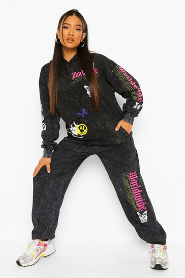 Charcoal grey Petite Acid Wash Butterfly Print Tracksuit