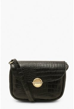 Black Croc Disc Clasp Cross Body Bag