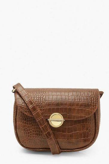 Tan brown Croc Disc Clasp Cross Body Bag
