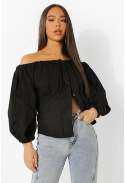 Black Balloon Sleeve Bardot Shirt