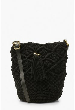 Black Macrame Bucket Bag