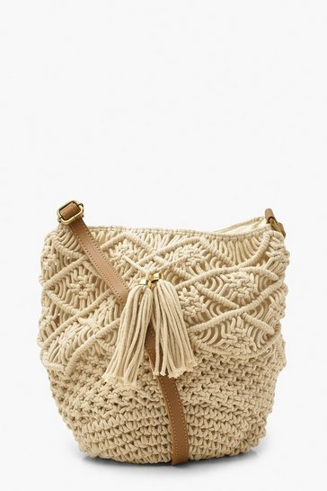 Natural beige Macrame Bucket Bag