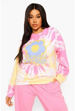 Baby pink pink Plus Happiness Daisy Print Tie Dye Sweat