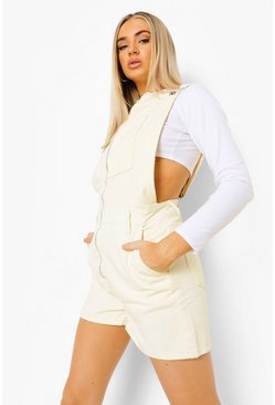 Ecru white O Ring Zipped Denim Shorts Dungaree