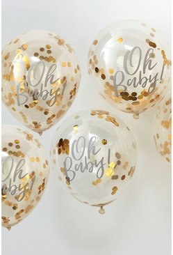 Ginger Ray Oh Baby Confetti Gold Balloons