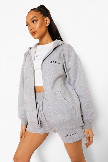 Grey Woman Zip Through Hoodie & Short Tracksuit