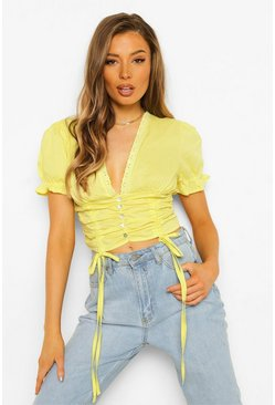 Lemon yellow Woven Ruched Detail Crop Top