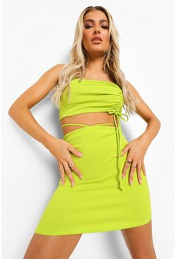 Acid lime yellow Ruched Tie Detail Bandeau & Mini Skirt