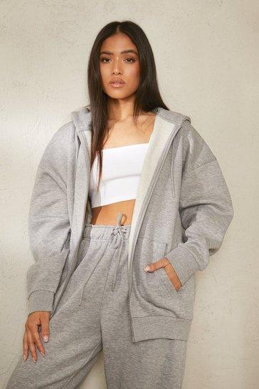 Grey Petite Recycled Oversized Zip Through Hoodie