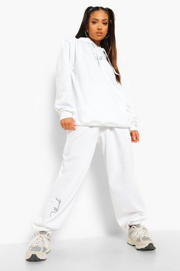 White Petite Official Script Printed Tracksuit