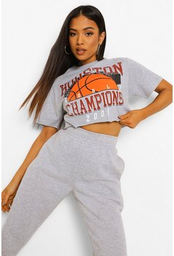 Grey marl grey Petite Houston Printed Crop T-shirt