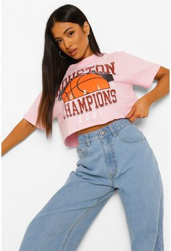 Pink Petite Houston Printed Crop T-shirt
