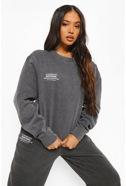 Black Petite Montana Print Acid Wash Sweat