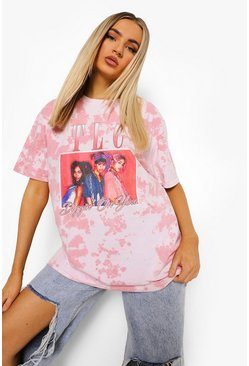 Pink Tlc Licensed Tie Dye Oversized T-shirt
