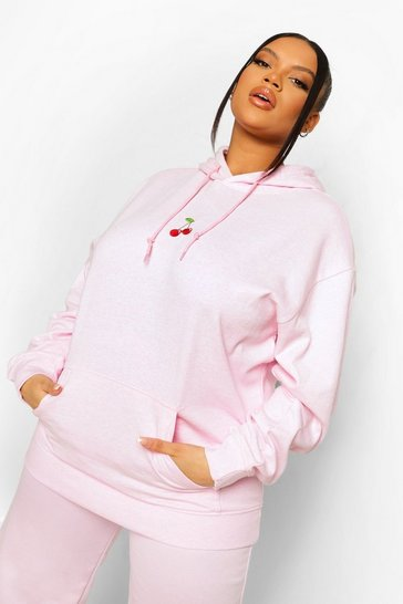 Baby pink pink Plus Cherry Embroidered Hoodie