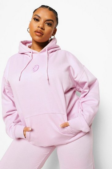 Lilac purple Plus Sun & Moon Embroidered Hoodie