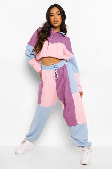 Lilac purple Petite Colour Block Zip Up Sweat Tracksuit
