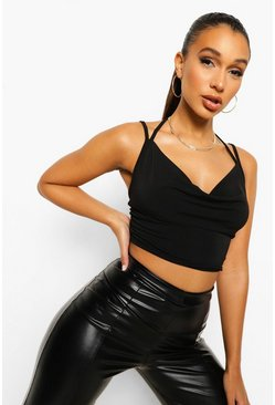 Black Slinky Cowl Neck Crop Top, Schwarz