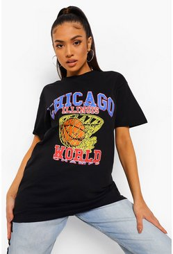 Black Petite Chicago Printed T-Shirt