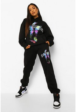 Black Petite Los Angeles Butterfly Printed Jogger