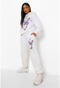 White Petite Los Angeles Butterfly Printed Jogger