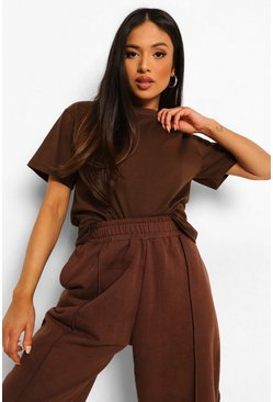 Brown Petite Basic T-Shirt, Chocolate marron