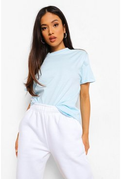 Light blue blue Blue Petite Basic T-Shirt