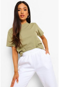 Khaki Petite Basic T-Shirt, Light khaki kaki