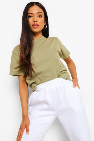 Light khaki khaki Khaki Petite Basic T-Shirt