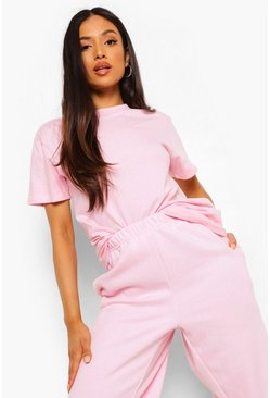 Light pink pink Pink Petite Basic T-Shirt