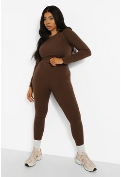 Chocolate brown Plus Crop Long Sleeve Top and Legging Set