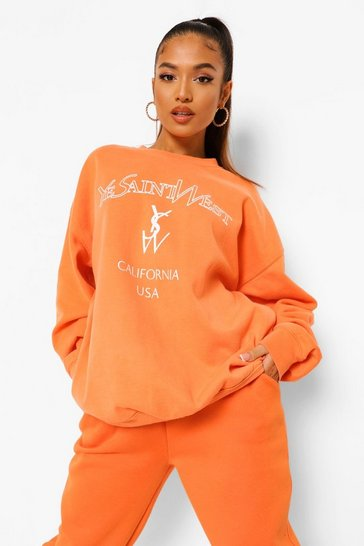 Orange Petite Ye Saint West Overdyed Sweat