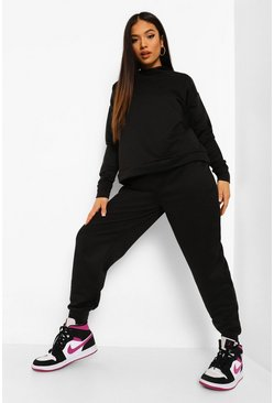 Black Petite Hoody And Jogger Tracksuit