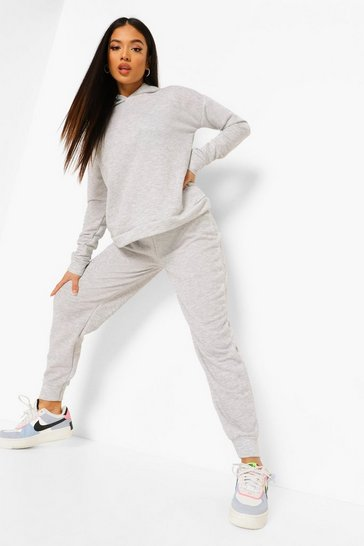 Grey Petite Hoody And Jogger Tracksuit