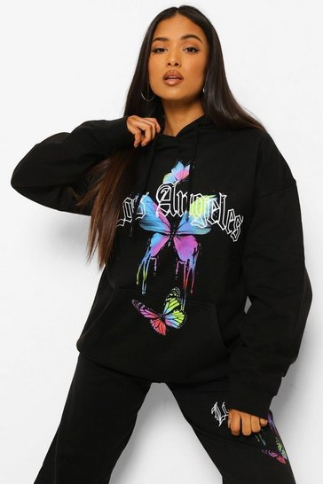 Black Petite Los Angeles Butterfly Printed Hoody