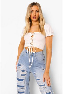 Ivory white Lace Up Square Neck Crop Top