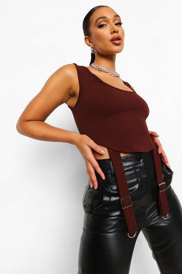 Chocolate brown Corset Detail Top