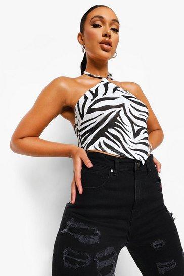 Black Zebra Print Halterneck Cami Top