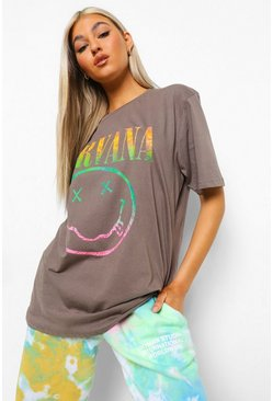 Charcoal grey Tall Nirvana License Oversized T-shirt