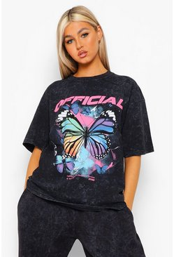 Charcoal grey Tall Butterfly Acid Oversize T-shirt