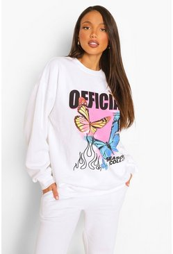 White Tall Butterfly Oversize Sweatshirt