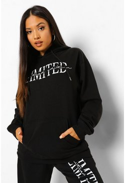 Black Petite Limited Edition Printed Hoodie