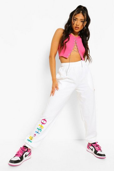 White Petite Official Print Joggers